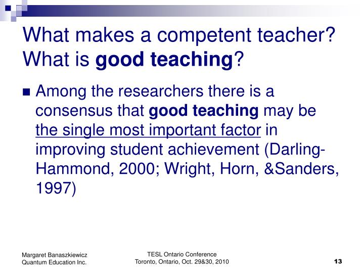 What makes a competent teacher?
