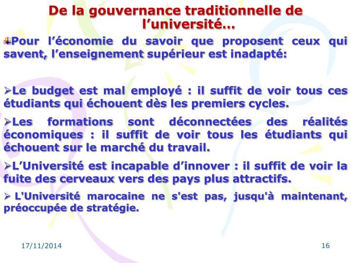 De la gouvernance traditionnelle de l'université…