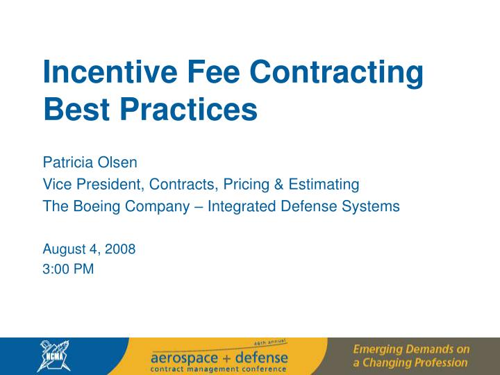 Incentive Fee Contracting Best Practices