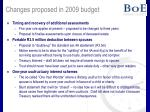 changes proposed in 2009 budget