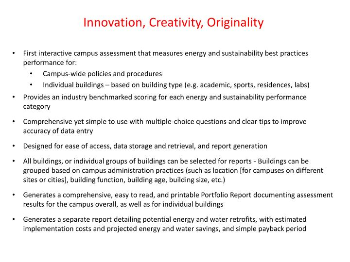 Innovation, Creativity, Originality