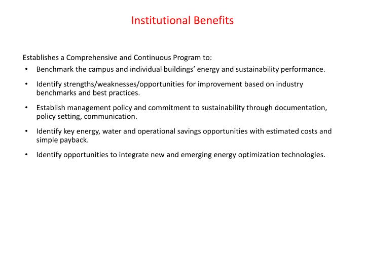 Institutional Benefits