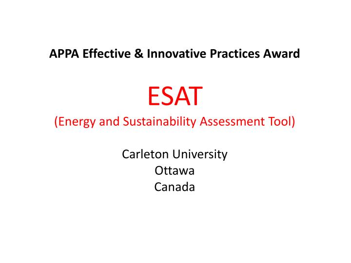 APPA Effective & Innovative Practices Award