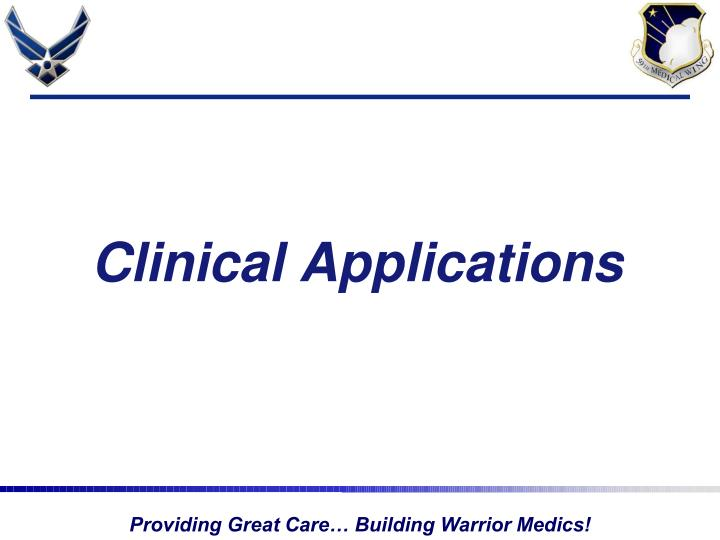 clinical applications n.