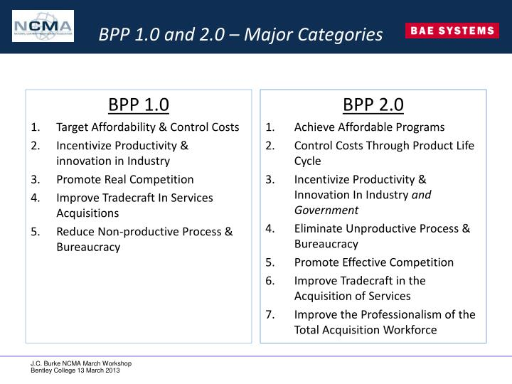 BPP 1.0 and 2.0 – Major Categories