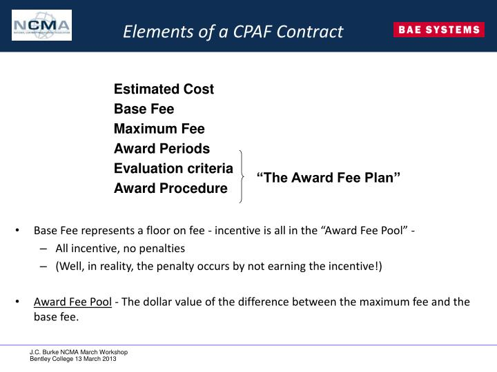 Elements of a CPAF Contract