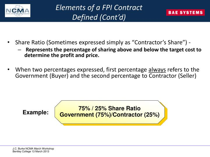 Elements of a FPI Contract