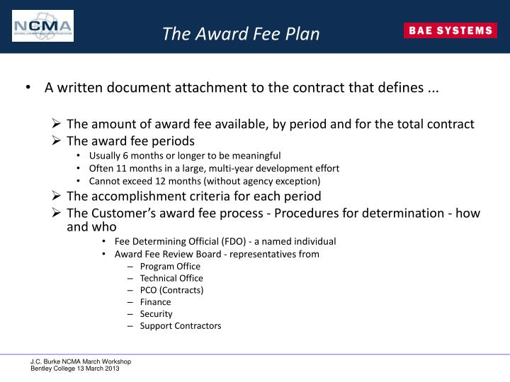 The Award Fee Plan
