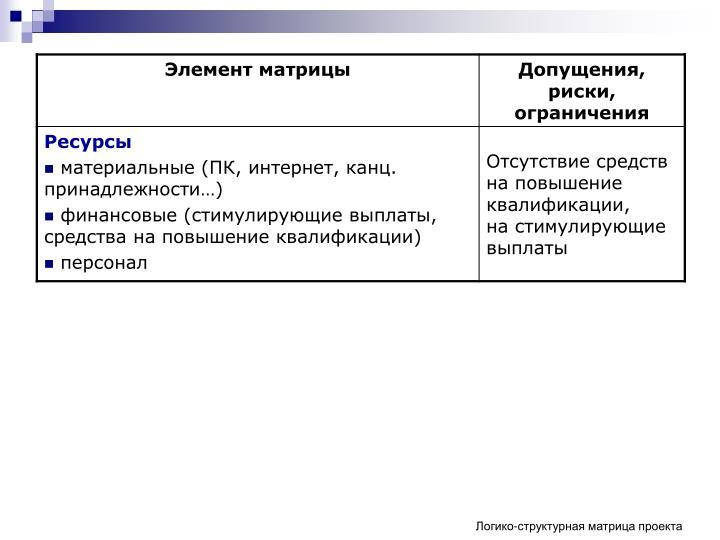 Логико-структурная матрица проекта