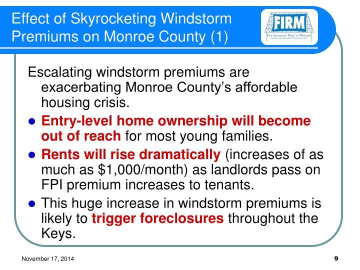 Effect of Skyrocketing Windstorm Premiums on Monroe County (1)