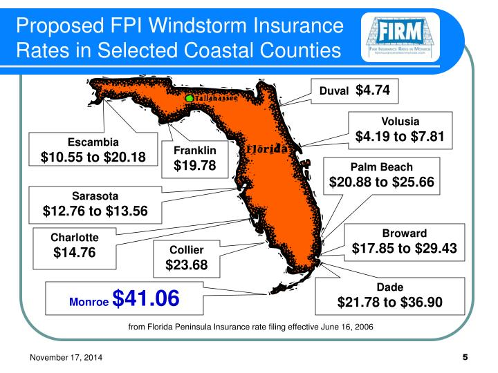 Proposed FPI Windstorm Insurance Rates in Selected Coastal Counties