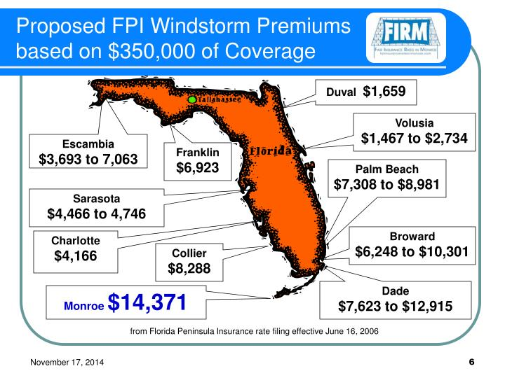 Proposed FPI Windstorm Premiums based on $350,000 of Coverage