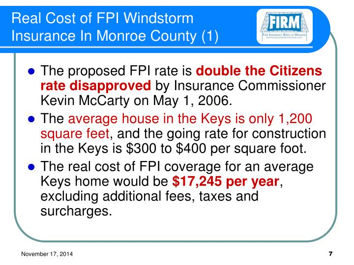 Real Cost of FPI Windstorm Insurance In Monroe County (1)
