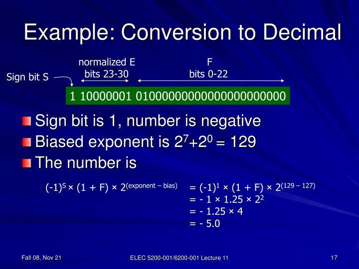 Example: Conversion to Decimal