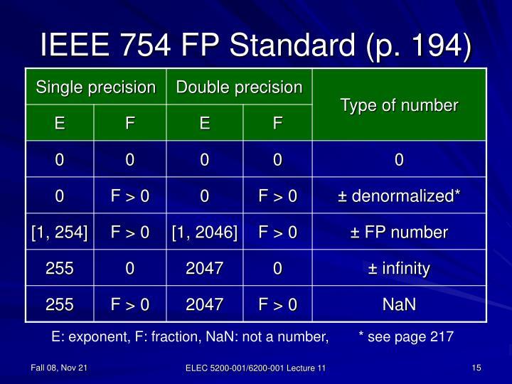IEEE 754 FP Standard (p. 194)