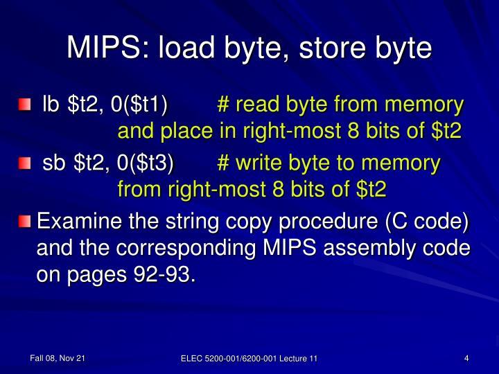 MIPS: load byte, store byte