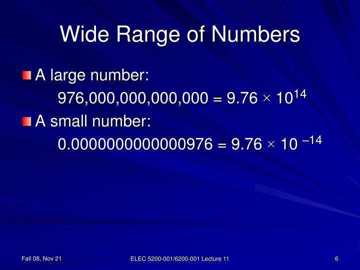 Wide Range of Numbers