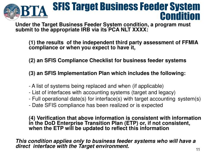 SFIS Target Business Feeder System Condition