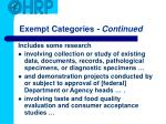 exempt categories continued