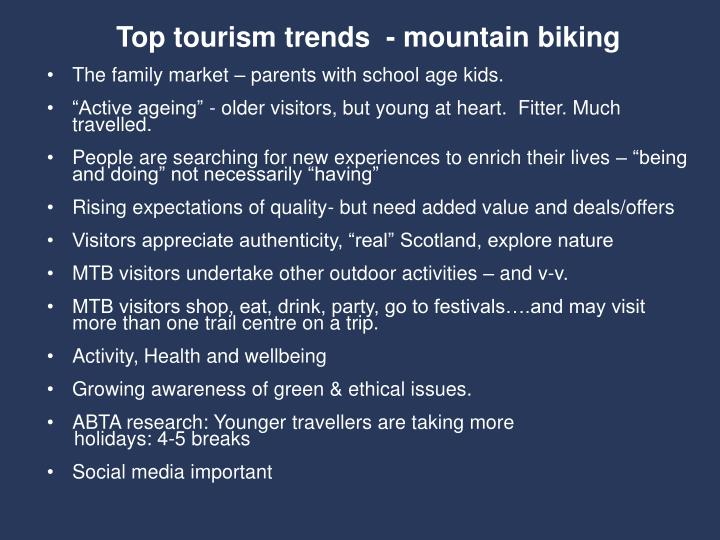 Top tourism trends  - mountain biking
