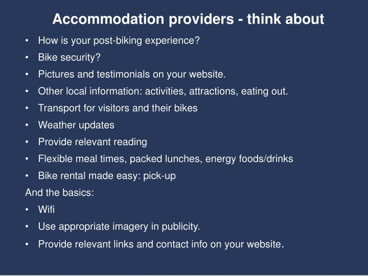 Accommodation providers - think about