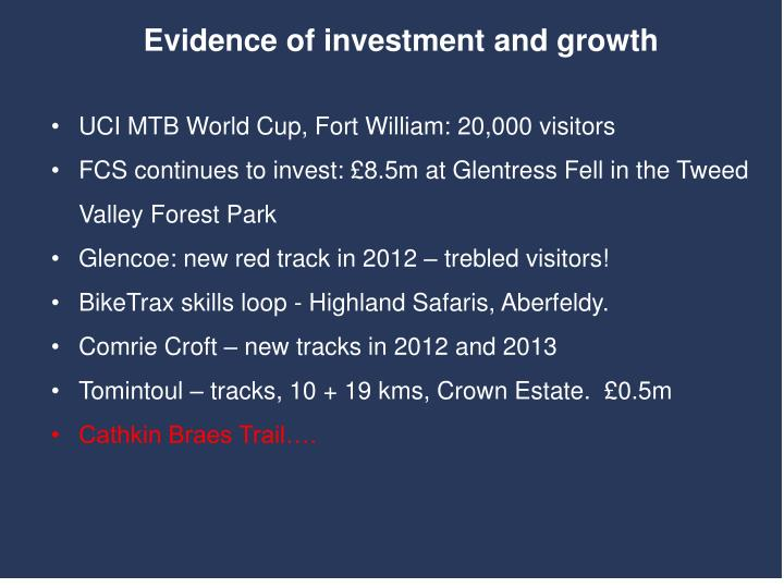 Evidence of investment and growth