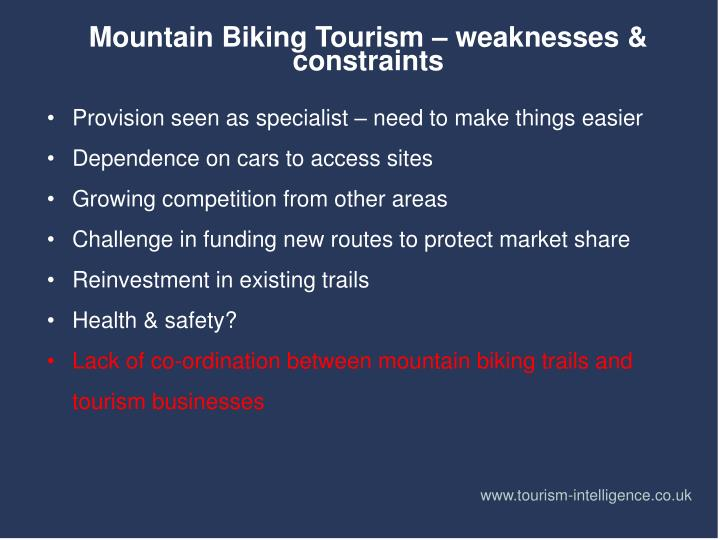 Mountain Biking Tourism – weaknesses & constraints