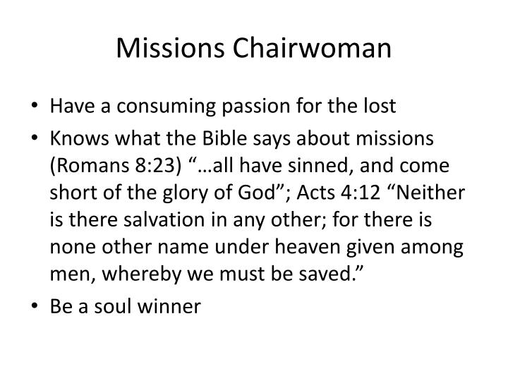Missions Chairwoman