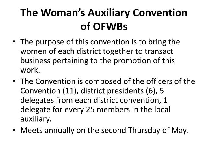 The Woman's Auxiliary Convention