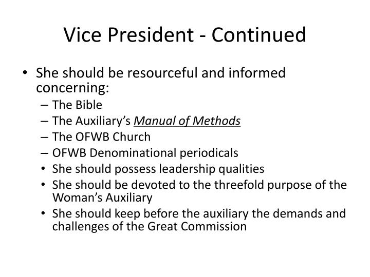 Vice President - Continued