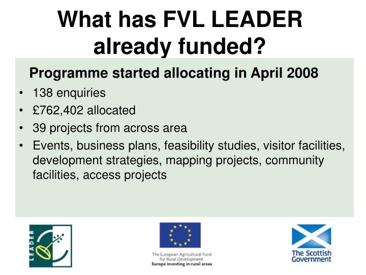 What has FVL LEADER already funded?