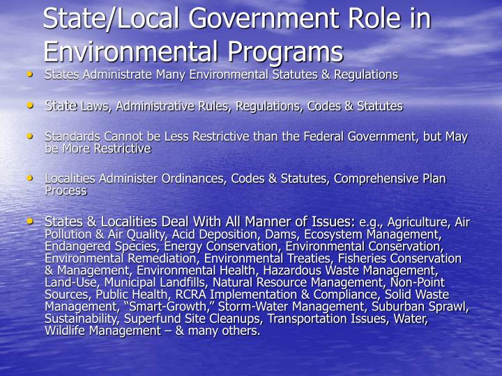 State/Local Government Role in Environmental Programs