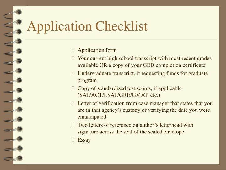 Application Checklist