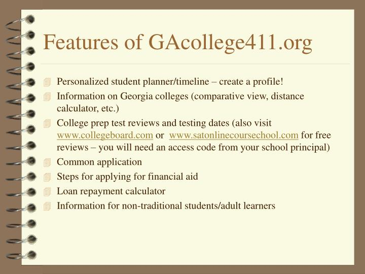 Features of GAcollege411.org