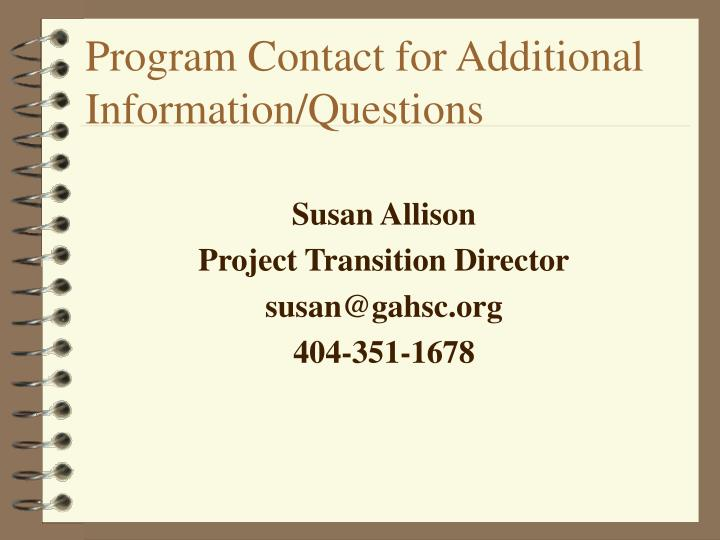 Program Contact for Additional Information/Questions
