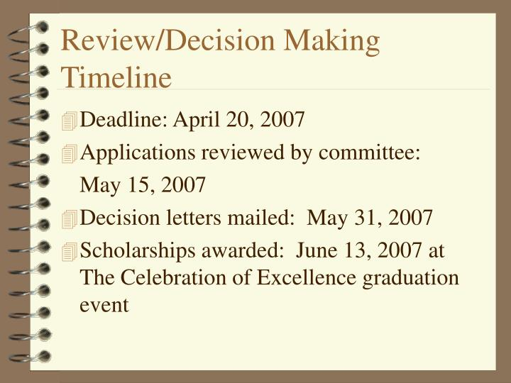 Review/Decision Making Timeline