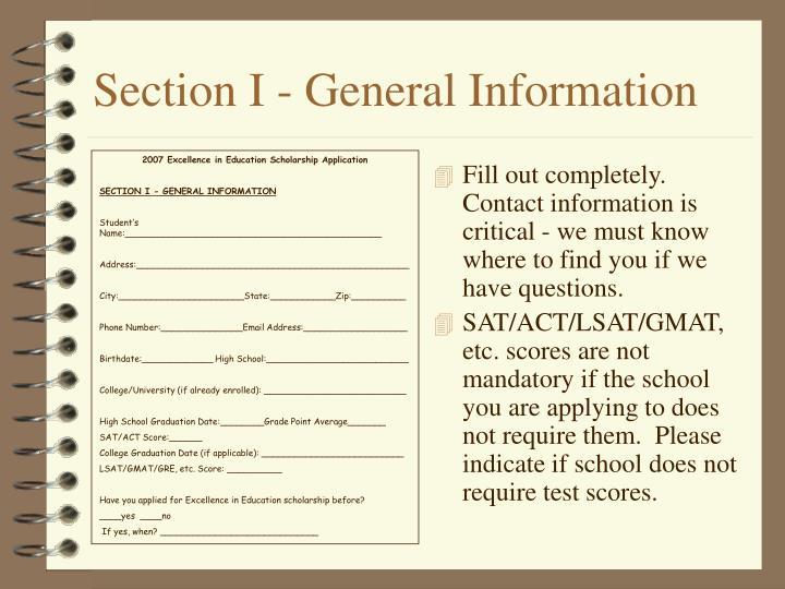 Section I - General Information
