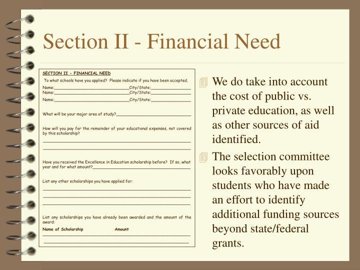 Section II - Financial Need