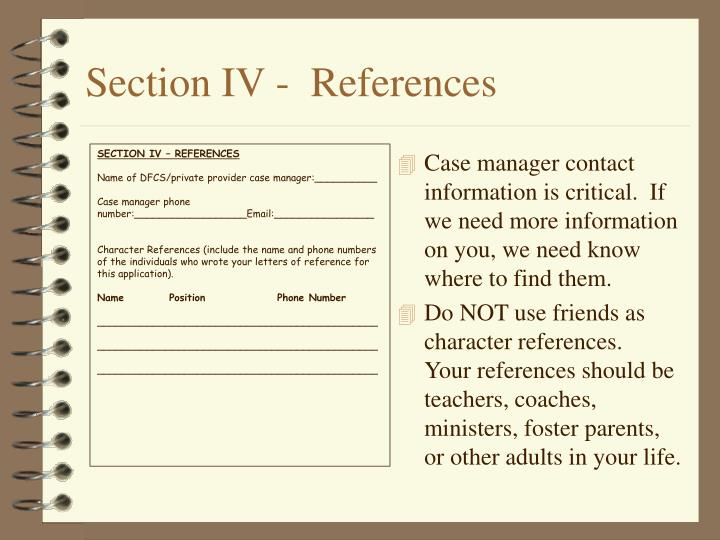 Section IV -  References