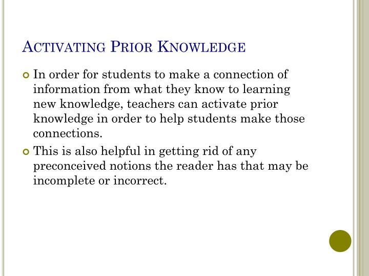 Activating Prior Knowledge
