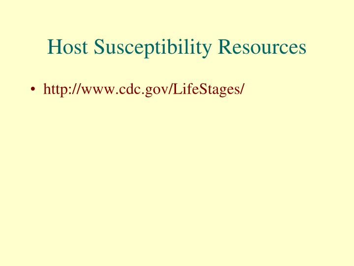 Host Susceptibility Resources