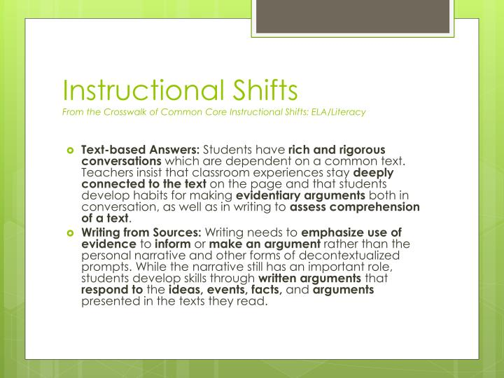 Instructional shifts from the crosswalk of common core instructional shifts ela literacy