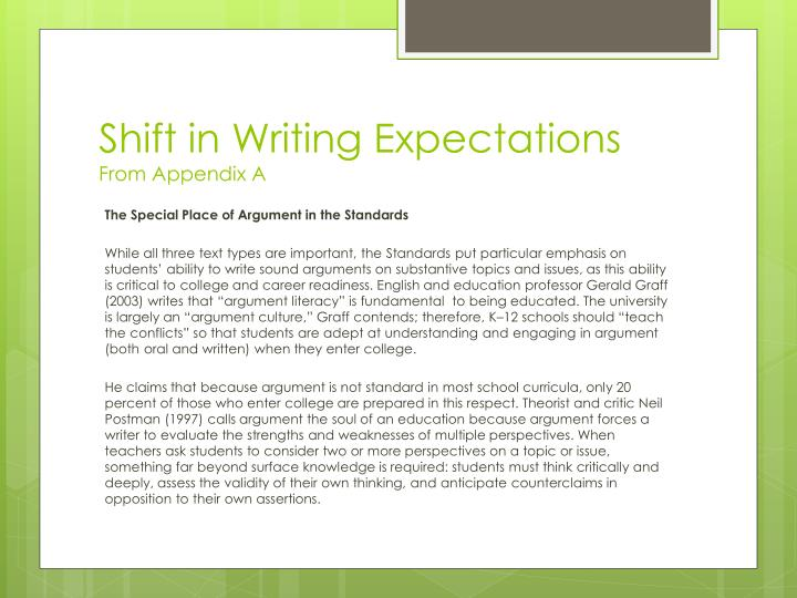 Shift in writing expectations from appendix a