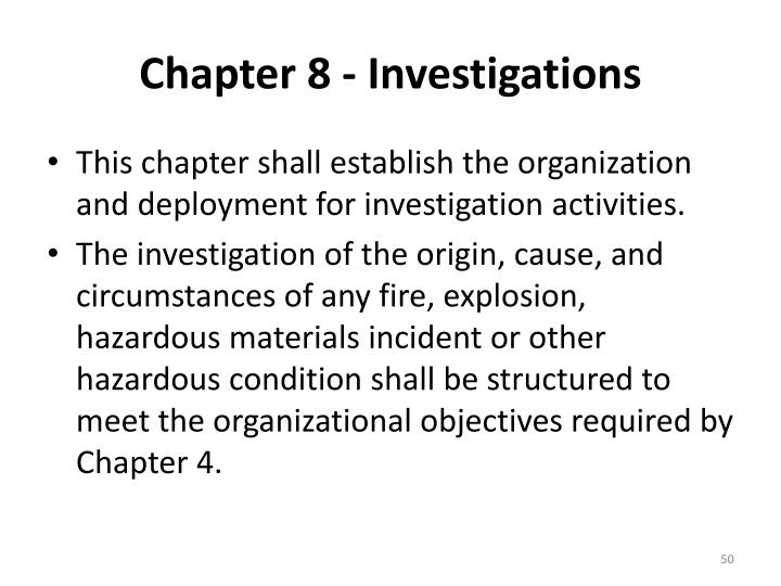 Chapter 8 - Investigations