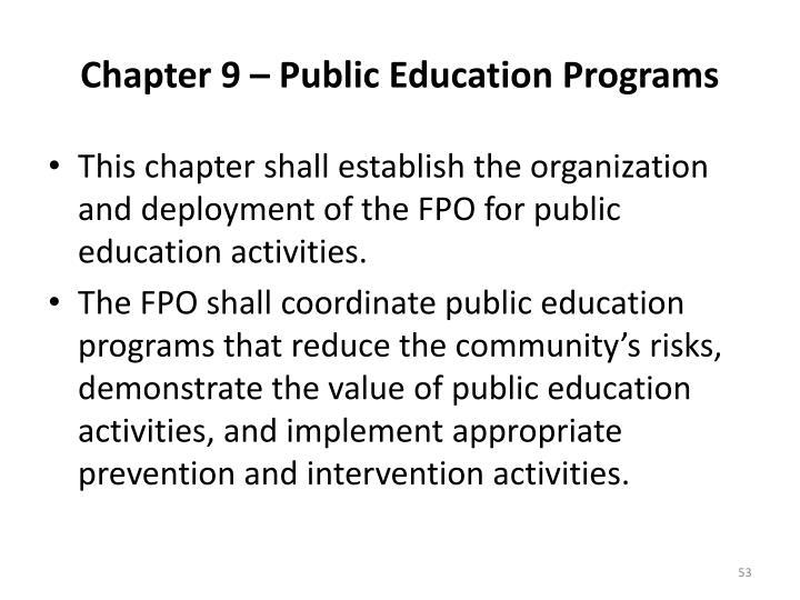 Chapter 9 – Public Education Programs