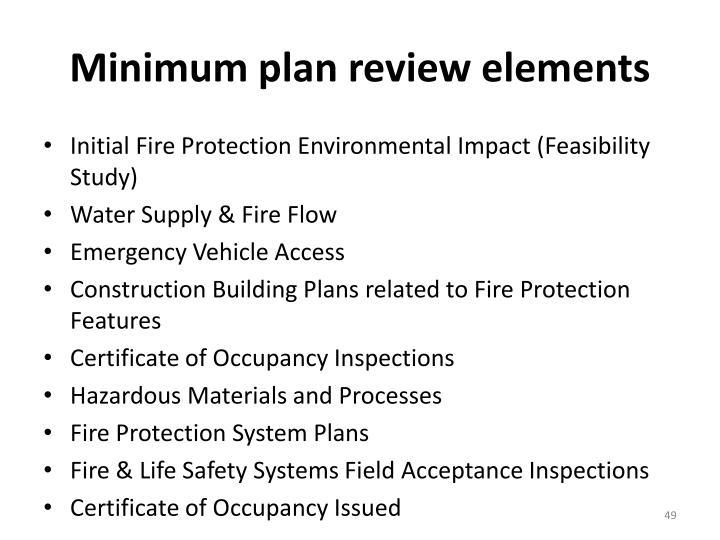 Minimum plan review elements