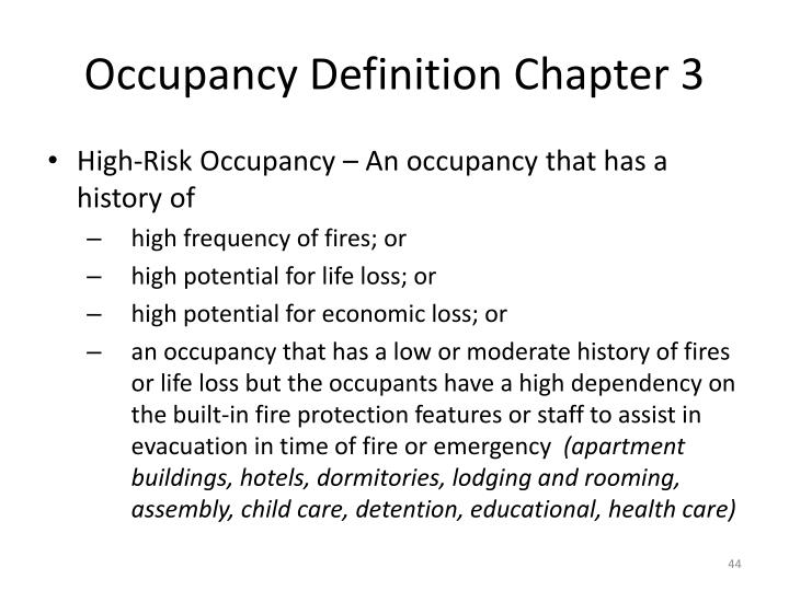 Occupancy Definition Chapter 3