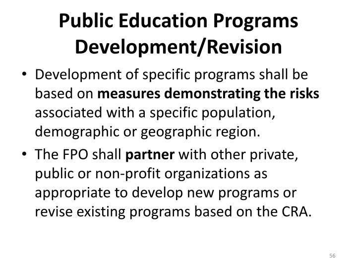 Public Education Programs Development/Revision