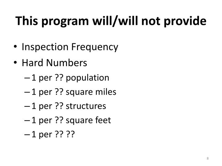 This program will/will not provide