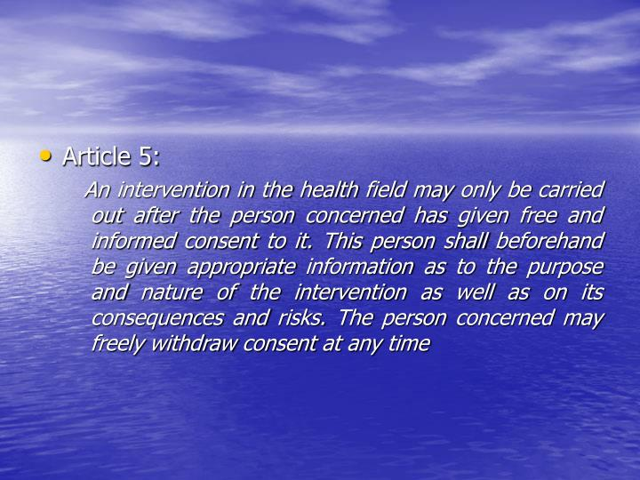 Article 5: